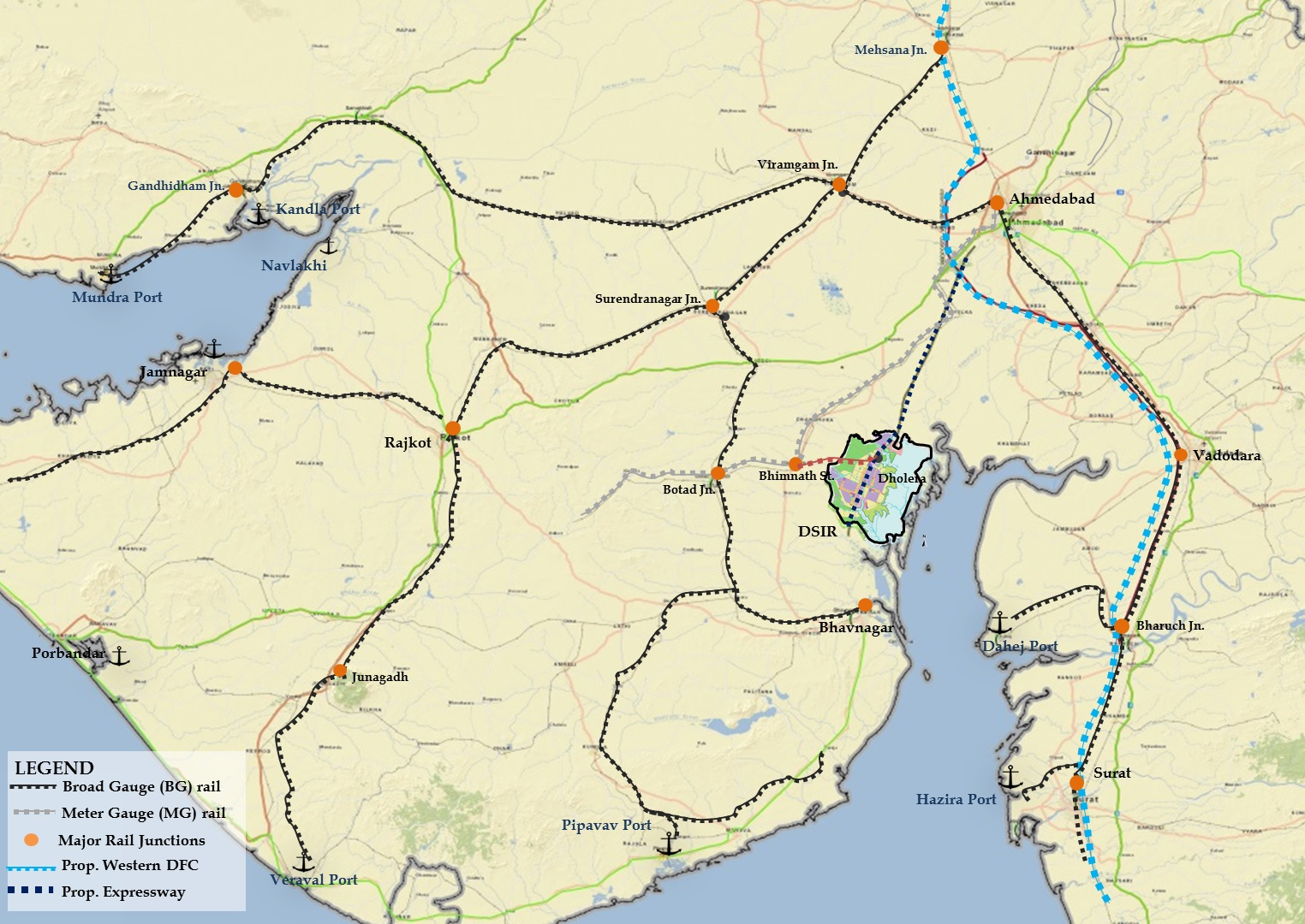 Rail Connectivity Map for Dholera
