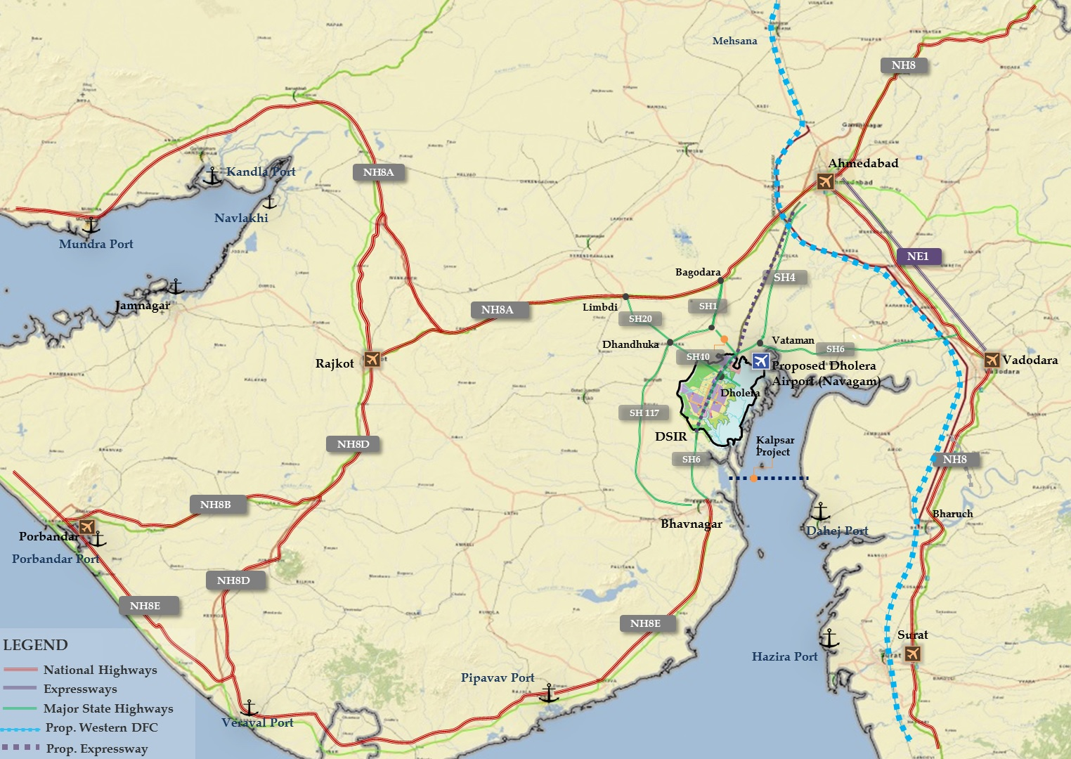 Road and Air Connectivity Map for Dholera