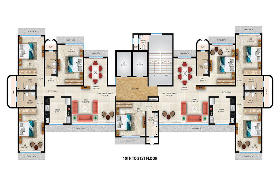10 TO 21 FLOOR PLAN ( V - 1.3 )