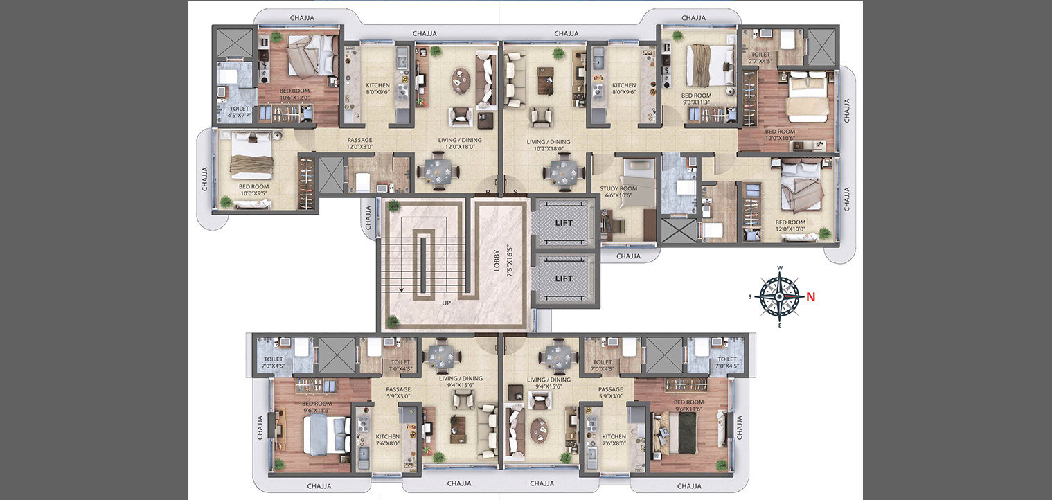 1 BHK, 2 BHK AND 3.5 BHK Floor Plan