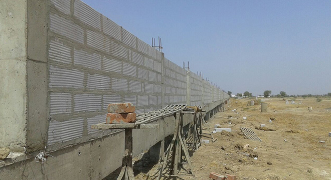 Compound Wall having 8 feet height. Complete RCC Construction with Piling and Masonry Work.